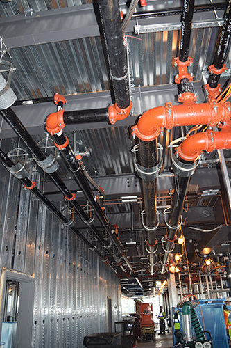 Hot and chilled water lines.