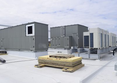 HVAC equipment previously rigged to rooftop.