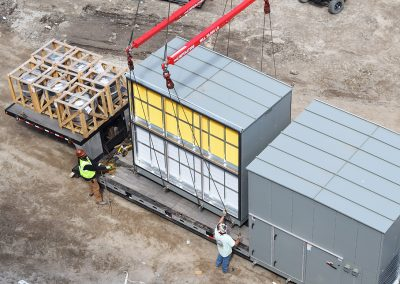 AHU starts rig to rooftop.