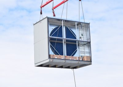 AHU travels to rooftop.